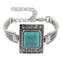 Wholesale Turquoise Squares Bracelet - New Tibetan Jewelry Antique Silver Chain with Square Turquoise Charm Bracelets Bangles for Women Jewelry Bijoux