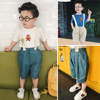 Wholesale Baby Boy Suspender Trousers - Toddler Clothes Baby Boy Clothing boys suspender trousers kids shorts Jumpsuit Childrens Pants Kids Clothes Infant Clothes new 2017 A476