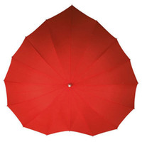 Wholesale Wedding Favor Parasols - Wholesale- Red Heart Shaped Umbrella 16k Wind Break Sun   Rain Parasol Wedding Party Umbrella Party Supplies