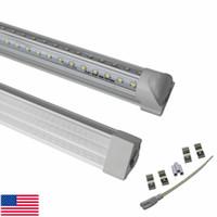 portes blanches achat en gros de-La porte de refroidisseur en forme de v de 2ft 4ft 5ft 6ft 8ft 8ft a mené des ampoules T8 intégrées de tubes à double face des lumières SMD2835 LED