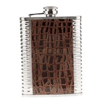 Wholesale Brown Whiskey - Wholesale- Leather Brown 8oz Screw-on Cap Hip Flask Drinking Whiskey Alcohol Bottle