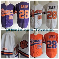 ingrosso camicia di birra-2017 NCAA Clemson Tigers baseball Jersey 28 Seth Beer College maglie Cool Base JERSEY Grigio bianco cucite Seth Beer Camicie