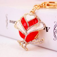 Beautiful Rose Pendentif Porte-clés pour les femmes 2017 Hot Fashion Floral Keyrings Romantique Saint-Valentin Cadeaux Luxury Diamond Jewelry Wholesale