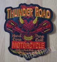 Wholesale Large Motorcycle Patches - 7.6 inches Engine Red Skull Evil large Embroidery Patches for Jacket Motorcycle Biker 19.5CM*16.5CM