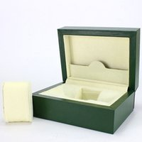 Wholesale High Quality Wooden Boxes - High quality Green Wood Boxes brand Original Watch Box Crown logo Wooden box with Brochures cards Free Shipping