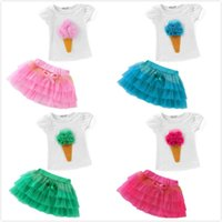 Wholesale Kids Skirt Shirt Design - Girls Tops Tutu Skirts Outfits Princess Ice Cream Design Tees Layered TUTU Skirts Outfits Children Kids Cotton Short T-shirts Dress For 2-7T