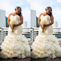 Wholesale simple strapless beach wedding dresses - 2017 Plus Size Dubai Arabic Simple Wedding Dresses Mermaid Ruched Draped Robe De Marriage Sweetheart Long Floor Length Bridakl Gowns