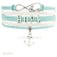 Wholesale Infinity Hope - Custom-Infinity Love Hope Anchor Metal Charm Wrap Bracelets Best Christmas Gifts White Turquoise Bracelets Leather Custom Bracelets