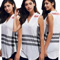 Wholesale Girls Stripped Tops - New Summer Style Imitation Silk Women Blouse Shirt Sexy White Irregular Tops Girls Blusas Shirts Fashion Stripped Designed Outfit