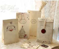 Wholesale Merry Christmas Baking - New Arrive Kraft Paper Bag Merry Christmas Gift Bags Party Lolly Favour Bowknot Wedding Packaging 22x12x6cm