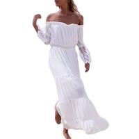 boho dantel maxi beyaz elbiseler toptan satış-Kadınlar Beyaz Elbise Kapalı Omuz Uzun Kollu Dantel Patchwork Seksi Tunik Maxi Elbise boho Güzel Plaj Uzun Elbise