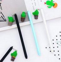Wholesale Art Cactus - Wholesale gel pen free shipping 72pcs\lot \2 boxes Lovely cactus pendant neutral pen black ink pen0.5mm 075