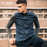 Wholesale Denim Shirts Leather - Wholesale- 2016 spring&autumn men denim shirt leather pachwork neck camisa masculina casual shirt blusas mens dress slim fit shirts