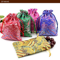 Cheap Wave Pattern Seda Brocade Pouch Pequeno Drawstring Cloth Gift Bags Jóias Embalagem Pouch Chinese Coin Pocket Wholesale 50pcs / lot