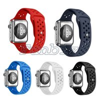 Wholesale Apple Rubber Band - New Flexible Breathable Silicone Sports Band for Apple Watch Series 1&2 42MM 38MM M L S M Rubber NK Hole Watchband Black Red
