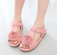 Wholesale Bottom Girl Korean - The first layer of leather sandals Korean girls flower girls large soft bottom sandal shoes summer new tide
