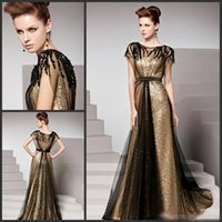 Wholesale Empire Waist Sequin Cap Sleeve - Amazing Gold And Black Evening Dresses 2016 Bateau Cap Sleeves Empire Waist Formal Party Prom Occasion Gowns For Women With Sequined Beaded