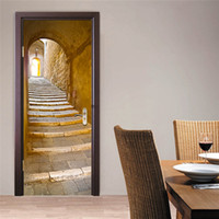 Wholesale Stickers Stairs - The European Style Stone Stairs Wall Door Stickers 3D PVC Self-adhesive Wallpaper Waterproof Home Room Door Decoration