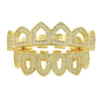 Wholesale Open Out Tops - High Quality Hip-Hop Grills Caps Shaped Iced out CZ 4 Open Hollow Grillz Top & Bottom Grillz Set Men Women Mouth Teeth