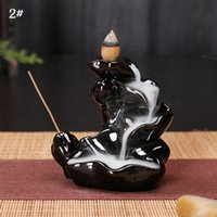 Wholesale Lotus Ceramics - Ywbeyond Lotus waterfall Backflow incense burner ceramic censer smoke back flow cones incense Bullet Incense Holder