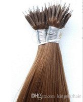 Wholesale Nano Ring 1g Hair Extensions - #8 Light Brown Straight 7A Grade Natural Nano Ring Hair Extensions 1g s 100g pack Factory Prices All Colors Nano Hair Extension