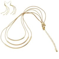 Wholesale Long Tassel Gold Necklace - Gold Color Jewelry Sets for Women Long Tassel Dangle Drop Earrings Ear Choker Necklace Fashion Vintage Elegant Boho Gothic Jewelry