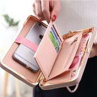 Wholesale Women Pocket Money - Purse wallet female famous brand card holders cellphone pocket gifts for women money bag clutch Bow multi-function bag