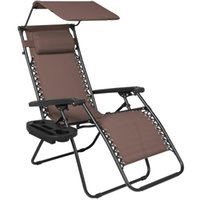 Wholesale Folding Lounge - Folding Zero Gravity Lounge Chair W  Canopy & Magazine Cup Holder-Brown
