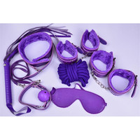 Wholesale Sex Whips Collars - Bondages 7pcs Leather plush SM Restraints Bondage Set Fetish Collar Whip Rope Ball Mask Handcuff Sex Products black red pink purple