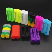 Wholesale E Cigarette Battery Cover - Dual 18650 Battery Silicone Case Protective Rubber Cover Skin Protector for 18650 E Cigarette Mods Battery Colorful DHL Free