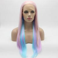 Iwona Hair Straight Long Three Tone Pink Light Purple Blue Mix Wig 2 # 2334/2403/2513 Perruque synthétique à la main à la main sans résistance à la dentelle