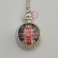 Wholesale Keep Calm Flag - Wholesale-silver lady girl woman fashion keep calm and carry on flag uk pocket watch quartz necklace antique fashion antibrittle casual