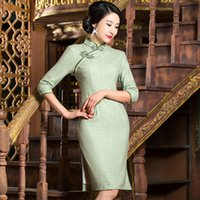 Wholesale Woollen Knees - 2017 New high quality vintage simple plus size 3 4 long sleeve woollen green pink pure color short cheongsam Chinese dress daily qipao