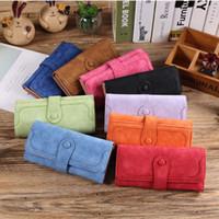 Wholesale Handbag Nubuck - Hot Women Wallet Fashion Retro Matte nubuck Stitching Wallet Women Long Purse Clutch Women Casual Hasp Dollar Price Wallet Handbag