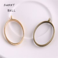 Wholesale Gold Blank Pendants - Min order 30pc 24*39mm Alloy jewelry setting accessories oval charm Hollow glue blank pendant tray bezel charms DIY Handmade Craft D6095-1