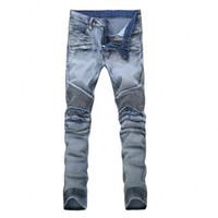Wholesale Worn Out Jeans - High Quality Hommes Jeans 2017 Draped Worn Out De Haute Stretch Mode Light Blue Denim Marque Hommes Mince Fit Jeans Taille 28-42