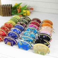Wholesale Chinese Coin Purses - Wholesale 20pcs Chinese Lady's embroidery Silk Coin pouch PURSE wallet zippe 005