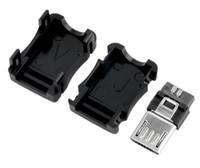 macho t conector venda por atacado-Cabos de computador Conectores Micro USB 5 Pinos T Port Macho Plug Soquete Conector Tampa De Plástico