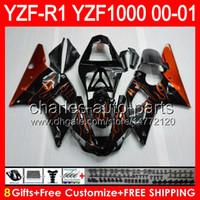 laranja r1 venda por atacado-gloss black 8gifts Corpo Para YAMAHA YZF R1 00 01 YZF1000 YZF-R1 00-01 laranja chamas 91NO73 YZF 1000 YZF-1000 YZF R 1 YZFR1 2000 2001 Carenagem