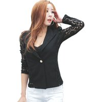 Wholesale Korean Style Ladies Blazer - Lace Blazers 2017 new arrive sexy Korean style notched long sleeve one button patchwork solid women suit ladies coats 4147