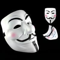 máscara de fawkes de chico adulto al por mayor-Máscaras del partido V para las máscaras de Vendetta Anónimo Guy Fawkes Disfraz Accesorio del traje del adulto Decoraciones de Halloween Partido Máscaras del Cosplay