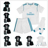 Wholesale 17 18 RM madrid kids soccer jerseys home away custom name  number ronaldo 7 AAA quality soccer uniforms shirts+shorts+socks ... 46b3edcfd