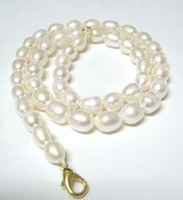 Wholesale Rice Crafts - 10pcs lot White Rice Freshwater Pearl Fashion Necklace Lobster Clasp 16inch For DIY Craft Jewelry Gfit Free Shipping P1
