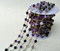 Wholesale Purple Jade Faceted - Handcrafted Gold jewelry Finding,Natural Jade stone purple Agate Faceted Beaded Chains,DIY necklace hand chain jewelry making LZ12