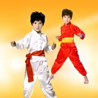Wholesale Kung Fu Clothing Women - 3pcs3color children traditional national martial arts dance practice tai chi men and women wear casual clothes sleeves Kung Fu shirt pants