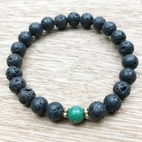 Wholesale Alloy Wells - SN1004 Mala Beads Yoga Bracelet Men Lava Malachite Bracelet Earthy and Nature Courage Well Being Jewelry Wholesale