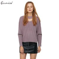 Wholesale Computer Cut - Wholesale- Autumn Winter Women Sweater Jumper Pullover Long Zipped Sleeve Cut Out V Neck Chunky Choker Sweaters Knitted pull femme