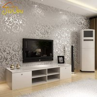 dormitorio de papel de pared de oro al por mayor-Europa Damasco oro plata grabado en 3D de vinilo de fondo rollo de papel de pared salón dormitorio TV sofá telón de fondo papel de pared Home Decor