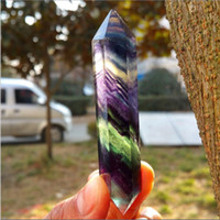 Wholesale Fluorite Crystal Point - Natural beautiful colorful Fluorite QUARTZ CRYSTAL DOULLE DOUBLE WAND POINT HEALING