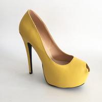 ingrosso scarpe gialle bride-Giallo morbido PU scarpe da sposa Sposa tacco alto pompe Slip-on piattaforma accessori da sposa pompa tacchi a spillo colori personalizzati taglia US4-15